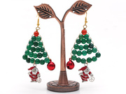 2013 Christmas Design Agate and Carnelian and Santa Claus Earrings