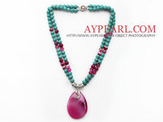 Turquoise and Hot Pink Agate Necklace Is Sold At $9.97