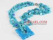Three Strand Blue Coral and Crystal and Kyanite Necklace