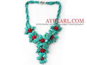 Green Turquoise And Red Coral Flower Party Necklace
