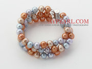 Gray Blue and Golden Color Freshwater Pearl Beaded Bracelet