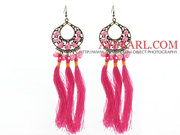 New Design Pink Style Pink Pearl Tassel Dangle Earrings