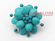 Elegant Style Green Color Turquoise Flower Brooch Is Sold