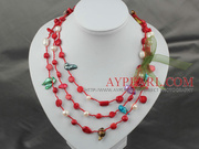 Long Style Red Coral and Pearl Thread Necklace Is Sold