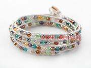 Multi Color Jade Crystal Woven Wrap Bangle Bracelet